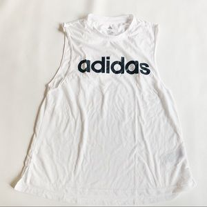 ADIDAS White Logo Muscle Tank Medium EUC